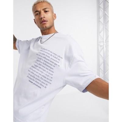 エイソス メンズ シャツ トップス ASOS DESIGN oversized t-shirt with chest text print in lilac