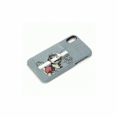 iPhone XS/iPhone X 共通 ハードケース/ポケット/リング付/ミッキーマウス/デニム スマホケース スマートフォンケース [▲][G]