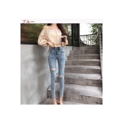 【送料無料】ハイウエスト ストレッチ 穴のジーンズ 女 秋 韓国風 フィート ア | 364331_A63380-4641007
