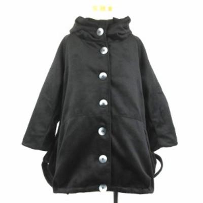 【中古】未使用品 フレンチパヴェ FRENCH PAVE ポワン裾 ショートコート 立ち襟ネック アウター 上着 ブラック 210525O レディース