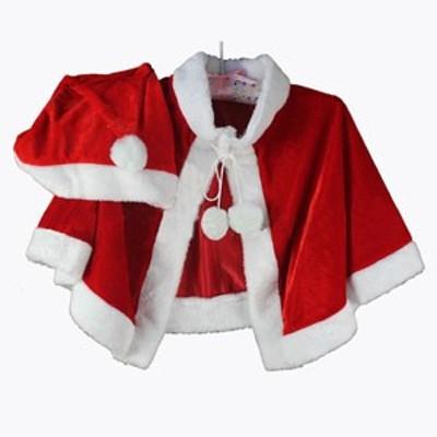 クリスマスコスチューム 帽子付き ショール ポンチョ 検索用→ クリスマス コスプレ サンタ コスプレ レディース サンタ 激安 サンタ コ