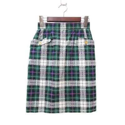 【中古】ヨークランド YORKLAND スカート 9AR M 緑 グリーン チェック バックスリット バックジップ レディース 【ベクトル 古着】