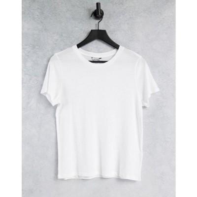 モンキ レディース シャツ トップス Monki Simba organic cotton t-shirt in white