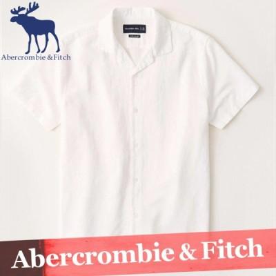 アバクロンビー&フィッチ 無地シャツ 半袖 メンズ リネンブレンド キャンプカラー XS〜XXL 新作 アバクロ