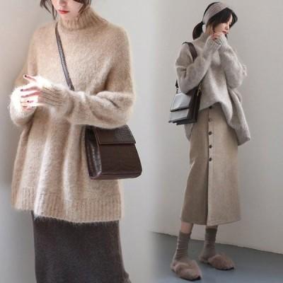 セーター ニット レディース トップス 秋冬 もこもこ 厚手 暖かい きれいめ 長袖 ハイネック ウールセーター ゆったり 大きいサイズ オシャレ カジュアル 2色
