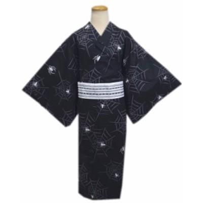 帯簡単 粋なメンズ男物男性浴衣とワンタッチ結び角帯セット黒色地スパイダーM・L・LL