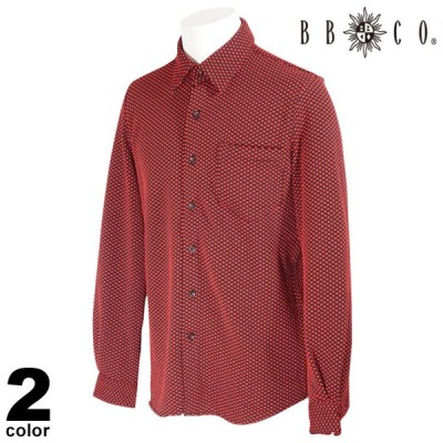 セール 30%OFF BBCO ビビコ 長袖 カジュアルシャツ メンズ 2020秋冬 ドット柄 総柄 ロゴ 05-1001-12