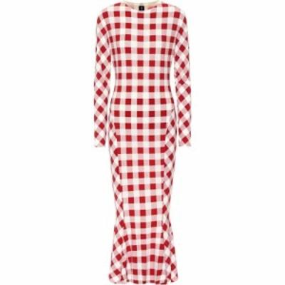 ノーマ カマリ Norma Kamali レディース ワンピース ミドル丈 ワンピース・ドレス Checked stretch-jersey midi dress Red Check