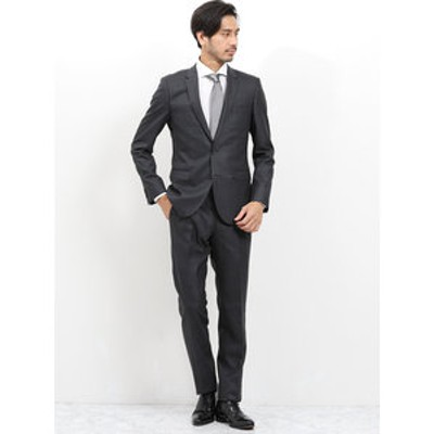 光沢ウール混 スリムフィット2ピーススーツ ウィンドペン チャコールグレー