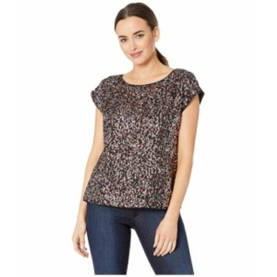 Vince Camuto ヴィンスカムート 服 一般 Extend Shoulder Multi-Sequin Mesh Mix Media Blouse