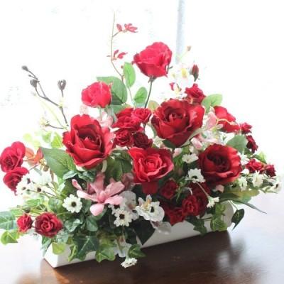造花 バラ 真っ赤なバラとオンシジウムの出窓に飾れるアレンジ CT触媒