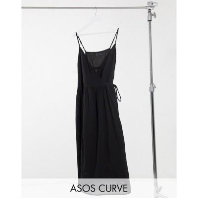 エイソス ドレス 大きいサイズ レディース ASOS DESIGN Curve tie wrap around crinkle maxi dress in black エイソス ASOS ブラック 黒