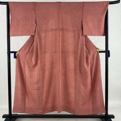 江戸小紋 優品 幾何学 ピンク 袷 身丈152.5cm 裄丈65cm M 正絹 中古