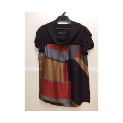 ZARAWOMAN ZARA WOMAN オフタートル半袖ブラウス 袖二重デザイン 光沢黒色&赤色&濃ベージュ色&グレー色 サイズS
