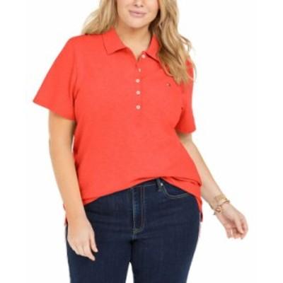 トミー ヒルフィガー レディース シャツ トップス Plus Size Piqué Polo Shirt Orange
