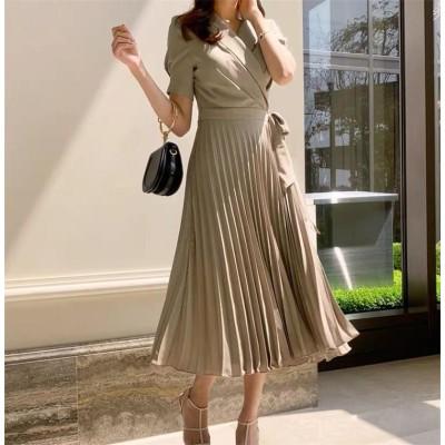 【雑誌で紹介されました】2020 新品 韓国ファッション フランス式 蝶結び ハイウエスト 中・長セクション シフォン ワンビース