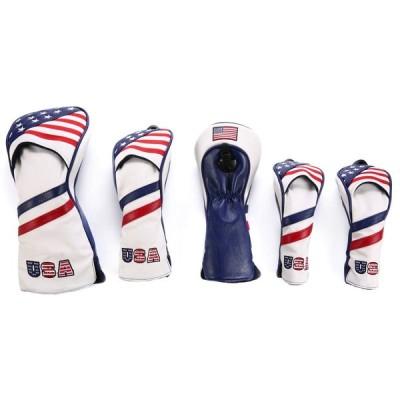 ヘッドカバー 高級pu革 ドライバー ウッド FW 2点 ユーティリティ UT用2点 ヘッドカバー5点セット 米国旗柄 USA Flag 変換ダグ付き