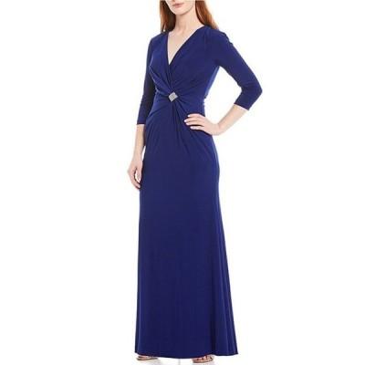 ジェシカハワード レディース ワンピース トップス Petite Size 3/4 Sleeve V-Neck Ruched Sheath Dress