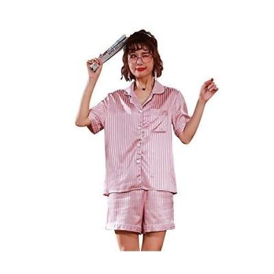 パジャマ レディース 半袖&短ズボン 夏 ルームウェア サテンパジャマ 半袖 部屋着 前開き 光沢あり 肌に優しい 冷感 セットアップ