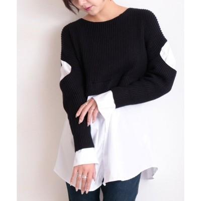 シャツ ブラウス リブニットレイヤード風モノトーンのシャツトップス