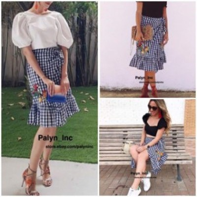 ファッション スカート Rare_NWT ZARA 2017 GINGHAM EMBROIDERED MIDI SKIRT CHECK 7521/049_XS S M L