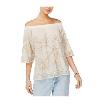 レディース 衣類 トップス Lucky Brand Womens Embroidered Knit Blouse Off-White X-Small ブラウス&シャツ