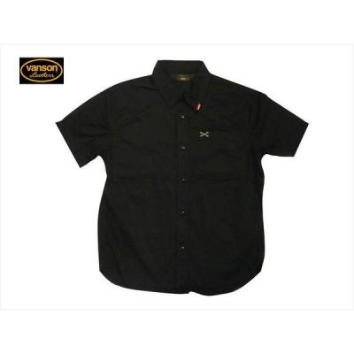 バンソン VANSON メンズ半袖シャツ NVSS-807 クロスボーン ワンポイント刺繍 ツイル半袖シャツ ブラック