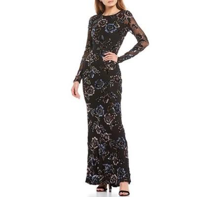 ベッツィアンドアダム レディース ワンピース トップス Long Sleeve Floral Sequin Mesh Gown