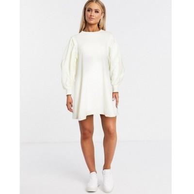 エイソス レディース ワンピース トップス ASOS DESIGN mini sweat dress with puff sleeves in cream