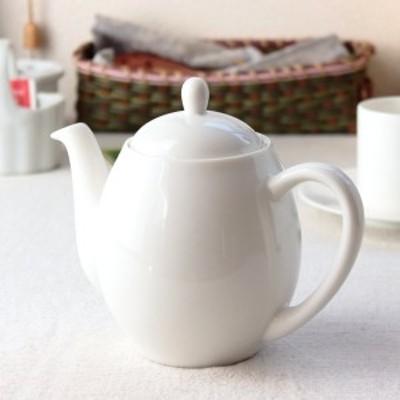 ぽってり形の2人用ティーポット 550ml 日本製 美濃焼 ポット 紅茶 日本茶 緑茶 丸型 無地 食器 陶器 磁器 陶磁器 瀬戸物 カフェ 電子レン