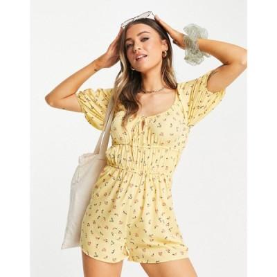 インフルエンス Influence レディース オールインワン ショート ワンピース・ドレス ruffle playsuit in yellow floral マルチカラー