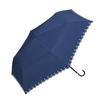 ワールドパーティー(Wpc.) 日傘 折りたたみ傘 ネイビー 50cm レディース 傘袋付き 遮光星柄スカラップ ミニ 801-972 NV