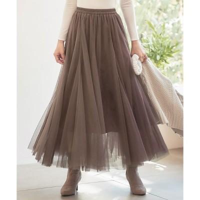 スカート ロングボリュームチュールスカート