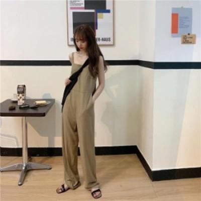 【2020春夏】【2カラー F】ゆるっと着られるワイドめのシルエットが旬のオールインワン♪ オールインワン パンツ  サロペット シンプル