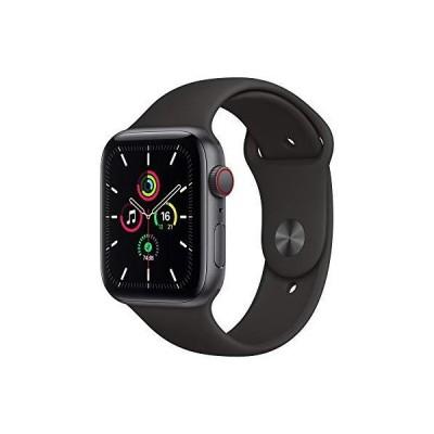 Apple Watch SE GPS+Cellularモデル 44mm スペースグレイアルミニウムケースとブラックスポーツバンド レギュラー MYF02J/A