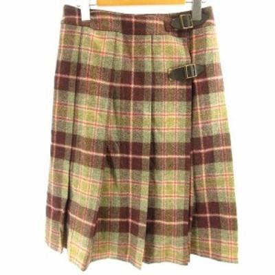 【中古】オールドイングランド ROBERT NOBLE ラップスカート 巻きスカート チェック プリーツ ウール 紫 黄緑 36