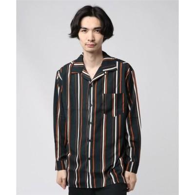 シャツ ブラウス 【Revertical】ストライプ長袖オープンカラーシャツ