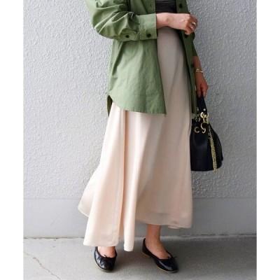 スカート SHIPS any: BUMPY サテンフレアスカート◇