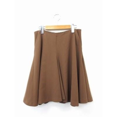 【中古】αA スカート フレア ギャザー 膝丈 ジップ 無地 シンプル 38 ブラウン 茶 /KT28 レディース
