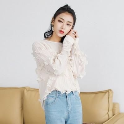 シフォン ブラウス レディース シャツ 長袖 無地 トップス ファッション 春秋新作