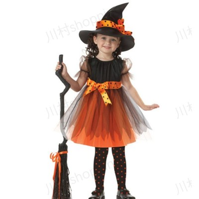 ハロウィン 子供用 衣装 コスプレ 女の子 魔女 黒 帽子付き 選べる6サイズ 100cm-150cm 習い事 発表会 イベント 仮装 パーティ コスチューム リボン 魔法