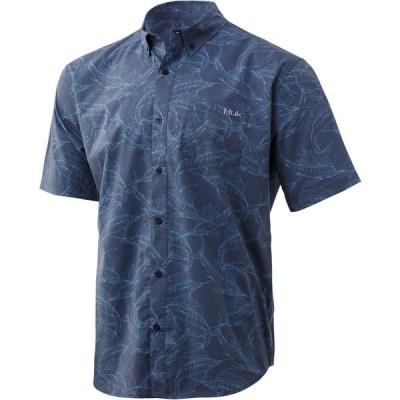 フック シャツ トップス メンズ Huk Men's Kona Woven Short Sleeve Button Down Shirt SargassoSea