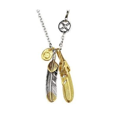 「silverKYASYA」ステンレス素材 ダブルフェザーネックレス ネイティブ 上金ハートフェザー 全金 金爪フェザー 特大 ゴールドフェ