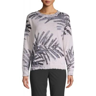 ニックゾー NIC+ZOE レディース ニット・セーター トップス palm-print cotton sweater インディゴマルチ