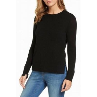 ファッション トップス Halogen NEW Black Womens Size PXXS Petite Crewneck Split-Cuff Sweater
