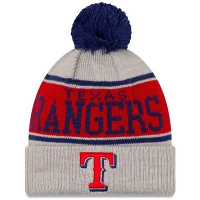 ユニセックス スポーツリーグ メジャーリーグ Texas Rangers New Era Stripe Cuffed Knit Hat with Pom - Gray - OSFA 帽子
