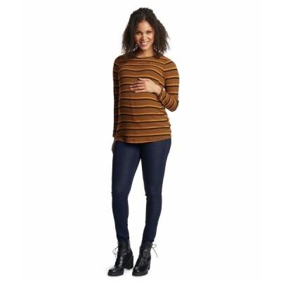 エベリーグレイ ニット&セーター アウター レディース Ashley Maternity Nursing Sweater Mustard Stripe