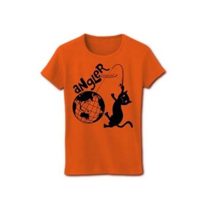 アングラー(釣り師)の黒猫 リブクルーネックTシャツ(オレンジ)