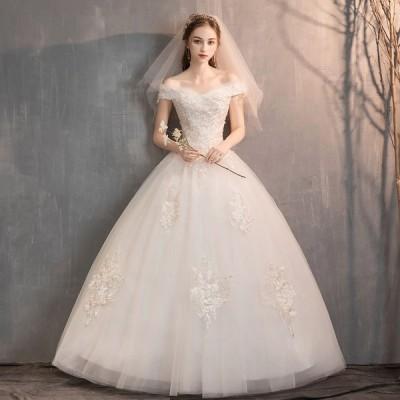 ウエディングドレス レディース  プリンセスドレス 編み上げ ブライダルドレス 花嫁 Aライン 前撮り ロング丈 演奏会 ドレス