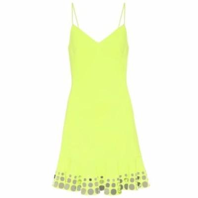 デヴィッド コーマ David Koma レディース パーティードレス ワンピース・ドレス Embellished cady minidress Neon Yellow/Silver